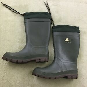 Kamik Men's Insulated Waterproof Boots Size 7, dark forest green, draw string
