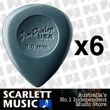 6 x Jim Dunlop Nylon Big Stubby 3.00MM Gauge Guitar Picks *NEW* Plectrums Grey