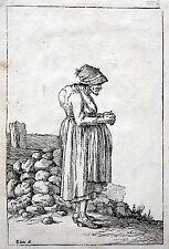 Johann Gottlieb Friedrich Unger ORIGINAL WOODCUT Hunchback Old Woman 1779