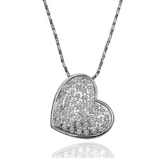 Elegant 18k 18CT White Gold Filled GF Heart Crystals Pendant Chain Necklace N480