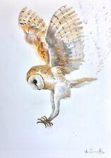 ANNA SWIFT ORIGINAL WATERCOLOUR PAINTING 'BARN OWL' BRITISH BIRD WILDLIFE