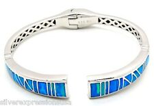 Amazing Quality Blue Fire Opal Inlay Genuine 925 Sterling Silver Bangle Bracelet