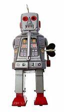COLLEZIONISTI SILVER TIN OROLOGIO WALKING ROBOT con scintillanti occhi e la bocca