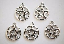 10 Pentagram Charms, Wicca Pagan Pentacle Charms - Antique Silver - 20mm