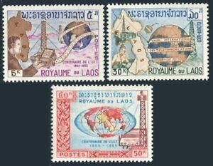 Laos 109-111,111a,MNH.Michel 160-162,Bl.37. ITU-100,1965.Map,Satellite,Radio
