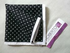 Hankie Pocket Square Handkerchief Hanky MENS Black White Spotty Polka Dots