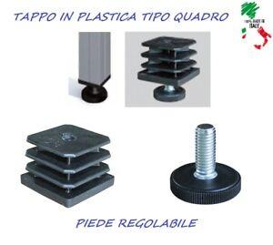 N 4 PIEDI REGOLABILE 30 40 50 mm TAPPO PLASTICA PIEDINO PIEDE X PROFILATI QUADRO