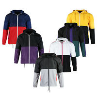 Mens Windbreaker Hooded Top Water Resistant Shell Lightweight Windbreaker Jacket