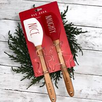 Rae Dunn Christmas Spatulas and Cookie Cutter Set LL New NAUGHTY. NICE.