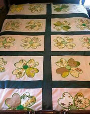 Full Size Hand Quilted Hearts & Flowers Quilt