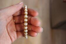 Julie Vos GENUINE SHELL PEARL Bangle Shell Pearl NWOT Sz MEDIUM ANTIQUE GOLD