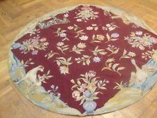Burgundy Zebra Birds Flowers Needlepoint Handmade Rug 5x5 Round Rug