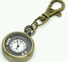 Reloj de Bolsillo Moda Bronce Tono ronda de Cuarzo Llavero Regalo
