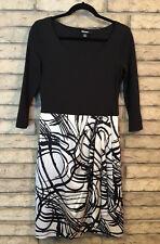 DKNY DRESS Sz SM Silk Skirt BLACK CREAM  Cotton Blend Bodice Pleat detail 3/4 sl