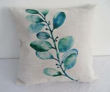 Watercolour Painting Teal & Green Branch Linen Look Cushion Cover 45cm