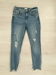 RIVER ISLAND JEANS SIZE 10 SHORT ANKLE SKINNY MID RISE STRETCH RAW HEMS RIPPED