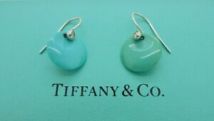 Tiffany & Co. Elsa Peretti Round Turquoise Diamond Platinum Drop Earrings