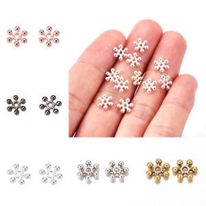 100pcs Zinc Alloy Snowflake Metal Beads Flower Loose Spacers 8.5mm Pick Color