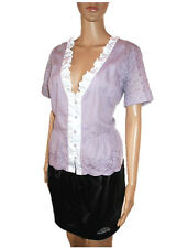 Womens Vtg NOA NOA Formal Embroidery Ruff Purple Short Sleeve Jacket sz M AB88
