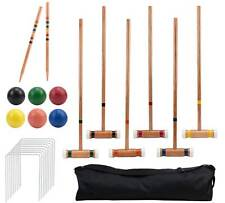 Crown Sporting Goods 6 Player Outdoor Croquet Set with Deluxe Carrying Case