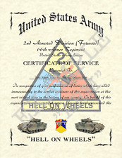 2ND ARMORED DIVISION (F) AFFILIATION CERTIFICATE PERSONALIZED 8.5 X 11 CS