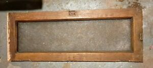 Vintage Antique Victorian Wood Transom Window Etched Glass Pane Salvage