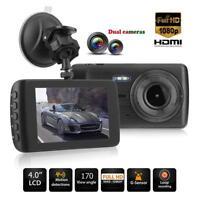 4in Dual Lens HD 1080P Car DVR Camera Video Recorder Motion Detection Dash Cam