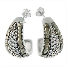 925 Silver Marcasite & CZ Half Hoop Earrings