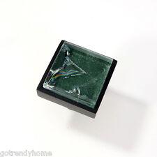 Green Crackle Crystal Glass Cabinet Black Metal Knob Drawer Square Handle Modern