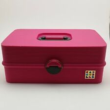 Vintage Caboodles Pink Make Up Jewelry Train Case With Fold Out Trays Liners