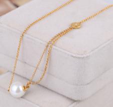 Michael Kors Single White Pearl Asymmetrical Gold Tone Pendant Necklace