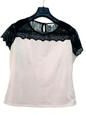 NEW LOOK LIGHT PEACH BEIGE STRETCH COTTON & BLACK LACE YOKE T SHIRT TOP 18