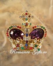 Russian Imperial Empress Alexandra Crown Brooch Pin Purple & presentation case