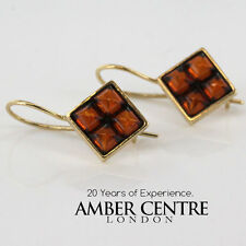 Italian Made Modern Baltic Amber in 9ct Gold Drop Earrings GE0037 RRP£170!!!