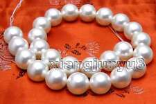 16mm White Shell Pearl Loose Beads for Jewelry Making DIY Necklace Strand 15""