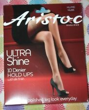 ARISTOC M/L Ultra Shine NUDE 10 Denier LACE Top Hold Ups NYLONS Stockings New!