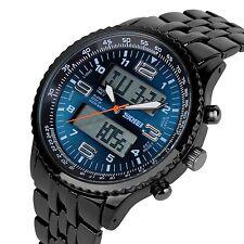 Men's Multifunction Analog Digital Black Stainless Steel Band Wrist Watch - Blue