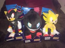 """OFFICIAL SONIC THE HEDGEHOG 12"""" SET OF 3 x SUPER SONIC SHADOW DARK CHAO SOFT TOY"""