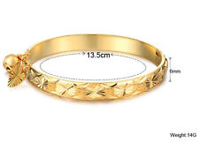 Baby Gifts Gold plated Bracelet Fashion Cuff bangle Sweet Heart Bell 1.7''