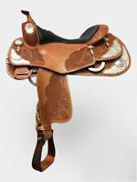 """Western show saddle 16"""" on eco leather buffalo chestnut on drum dye finish"""