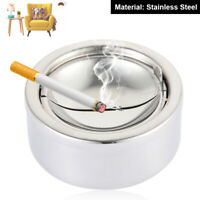 Stainless Steel Windproof Round Smokeless Ashtray Cup with Holder Cigarette Home