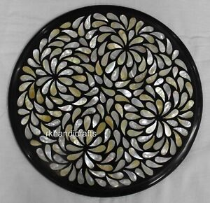 12 Inches Round Marble Coffee Table Top Inlay Side Table with Unique pattern