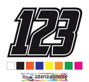 3 x Custom Race Numbers Vinyl Stickers Dirt Bike Motocross Trials Decals