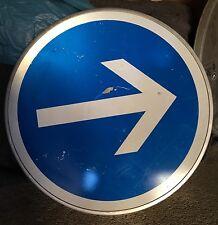 Panneau de signalisation bleu avec flèche  en tole déco Industrielle Loft  65cm