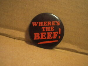 """Vintage 1980's -  """"Where's The Beef!"""" Button Pin - Wendy's  Black & Pink"""