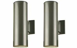 6797500 2-Light Outdoor Wall Fixture, Polished Graphite Fin on Steel Cylinder(2)
