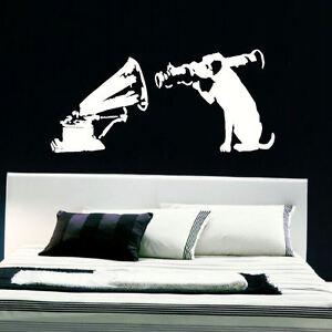 LARGE BANKSY DOG GRAMAPHONE WALL ART STICKER TRANSFER
