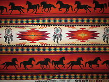 Navajo Native Americn Totem Horse Border Terracotta Black Cotton Fabric FQ