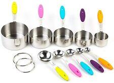 10 stk Set Edelstahl Messlöffel Set Messbecher Cups mit Silikon Griff für Küche