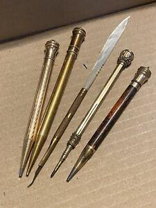 (5) Vintage Wahl Eversharp Parker Gold Filled Pattern Mechanical Pencil